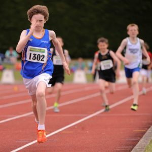 Cian Mc Phillips on his way to Gold in the Under 12 Boys 600 meters National Finals