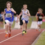 Cian McPhillips on his way to the gold medal Under 12 boys 600 meters National Finals