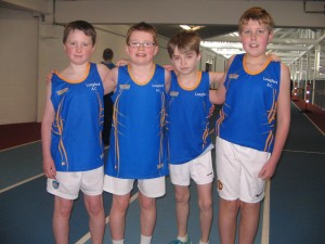 Longford AC U12 Boys Relay Team B taking to the track for the 1st time at the Connaught Indoor Championships, Athlone IT, 1st March 2014 Evan Moran, Jack Gallagher, Daniel Hayden & Rory Maguire