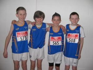 U12 Boys Relay Team A from Longford AC that ran in the Connaught Indoor Championships held at AIT International Arena, March 1st, 2014   David Mc Donnell, Tommy Corcoran, Brendan Finnan & Cathal Farrell