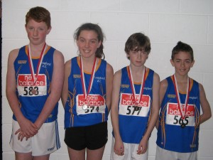 Longford AC Connaught Medallists: Niall Moran (Strokestown) 3rd- U14 Long Jump, Sarah Murphy (Dromard) 2nd -U13 600m, Cian McPhillips (Ardagh) 1st -U13 600m & Brendan Finnan (Ardagh) 2nd -U12 High Jump. Missing from photo Niall Nerney (Stonepark) 3rd -U18 1500m. All go forward to compete at the Athletics Ireland National Juvenile Indoor Finals on 22&23 March 2014 at AIT