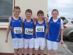 U13 Boys Silver at Connacht Outdoor Championships, 13 June 2015, Claremorris. David, Evan, Brendan & Cathal