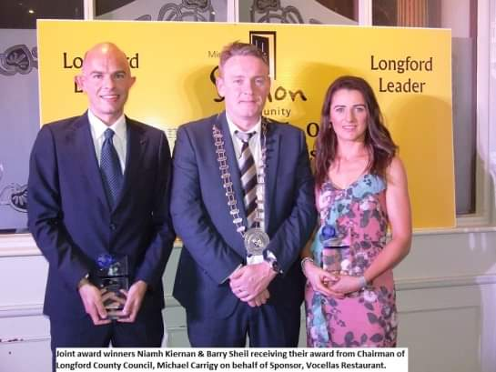 Barry Sheil and Niamh Kiernan pictured with Chairman of Longford County Council Micheal Carrigy